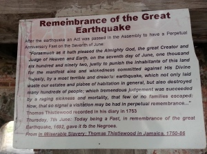 Memory of the Great Earthquake and Tsunami of 1692, Port Royal, Jamaica