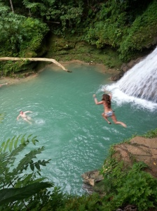 Jumping into Blue Hole Mineral Falls