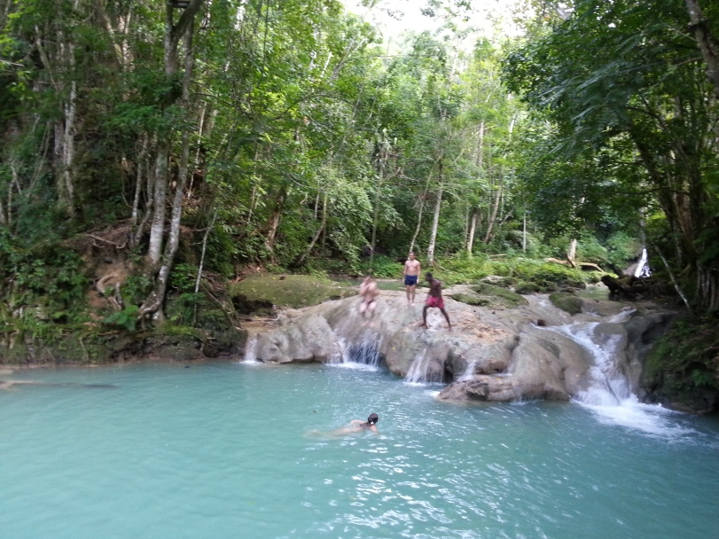 Rope Swing at Blue Hole Mineral Falls, Ocho Rios, Jamaica