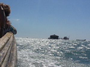 In a boat to Pelican Bar