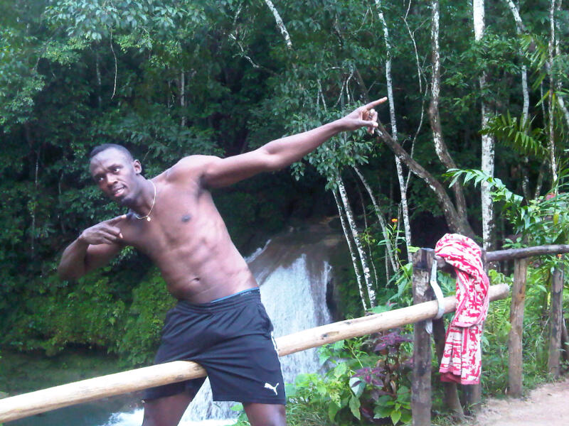 World Fastest Man, Usain Bolt at Blue Hole Mineral Falls