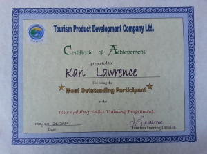 Karl Lawrence - Most Outstanding Tour Guide Participant