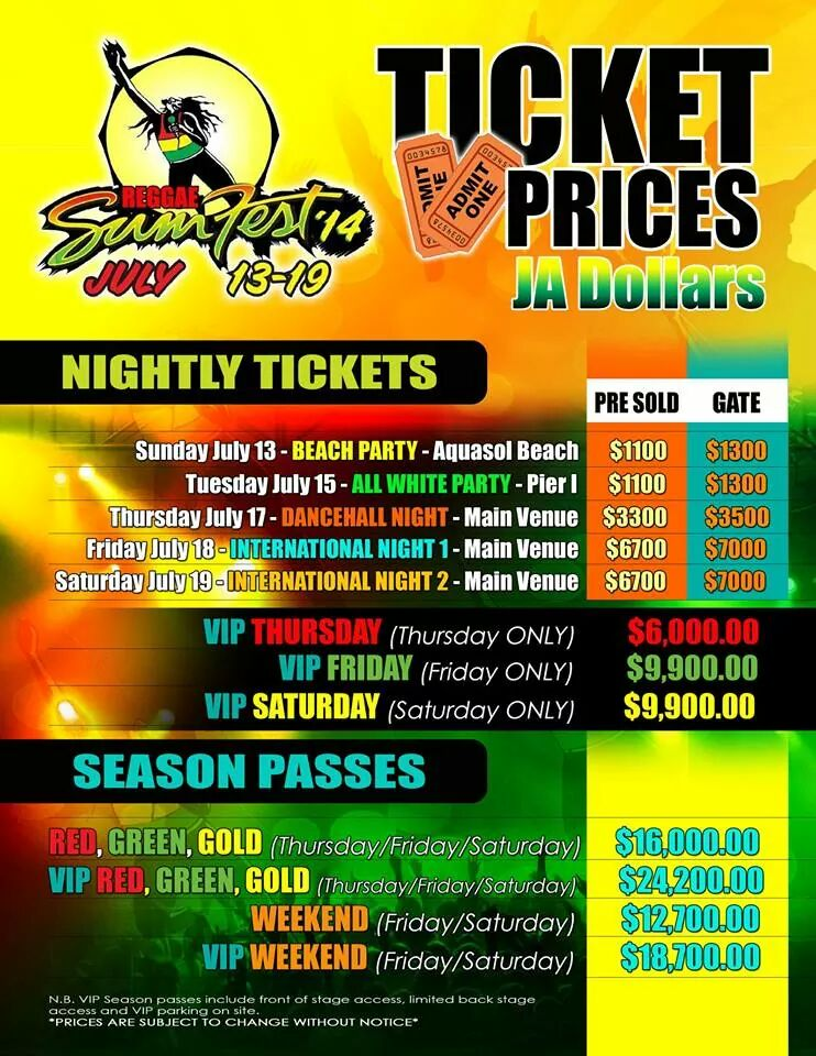 Reggae Sumfest 2014 Tickets now available